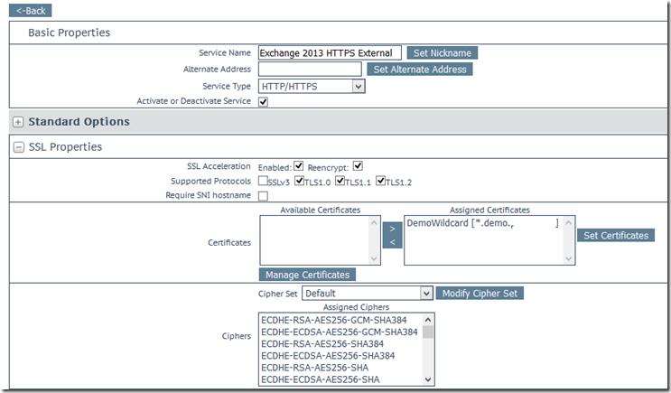Kemp LM - SSL settings