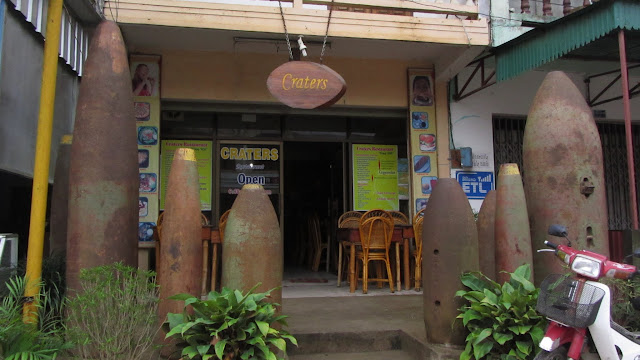 Craters Cafe in Phonsavan - decorated with spent fuel tanks and bomb casings.