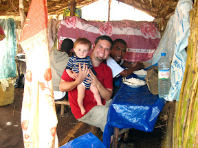 """Along the way, we stopped at a Saturday rural market and had our lunch at a temporary """"restaurant"""" (made of bamboo, and thatching) known as a """"hotely"""". Matimu enjoyed his share of the food too!"""