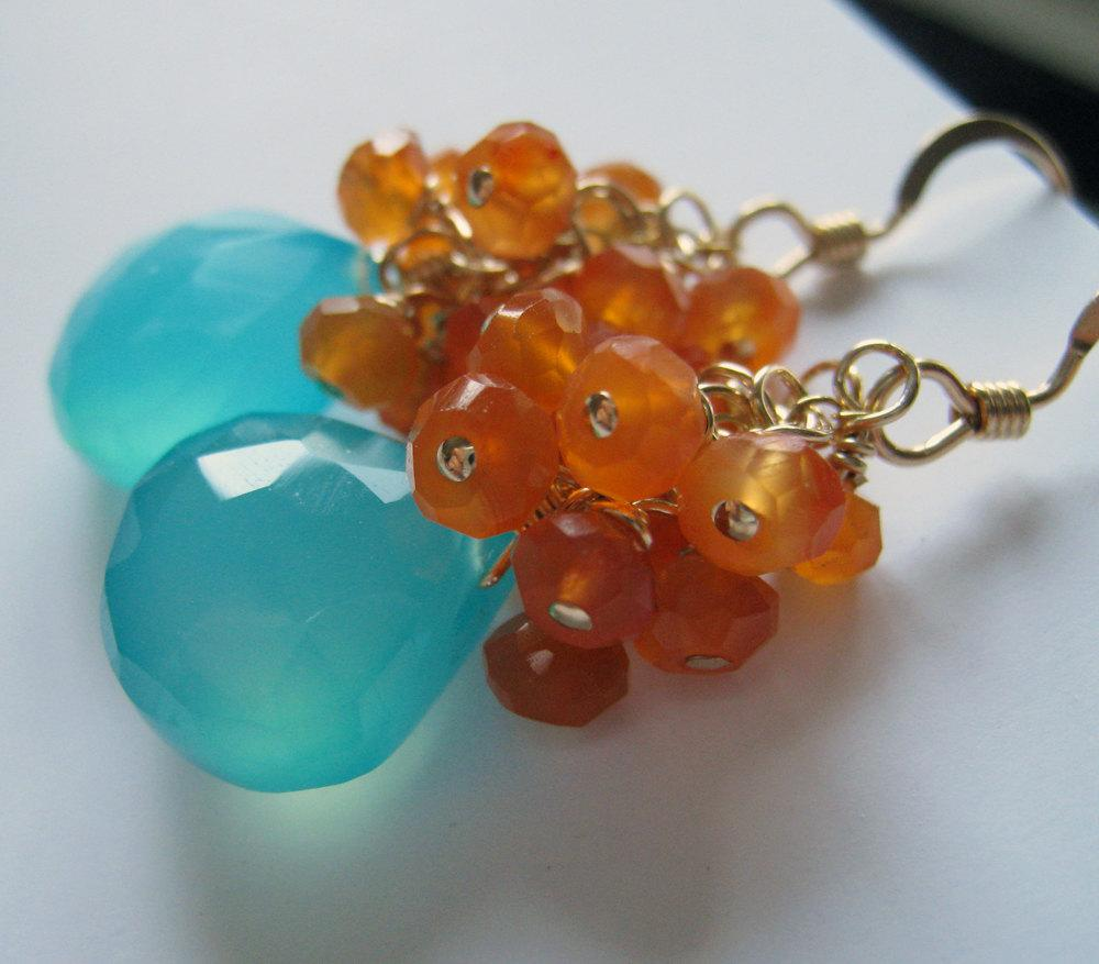 Aqua blue chalcedony and carnelian Earrings-14k gold filled or sterling