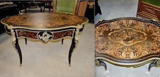 Очень красивый стол с цветочным узором. 19-й век. Маркетри с цветочным узором, позолоченная бронза, два выдвижных ящика. 145/86/80 см. 8700 евро.
