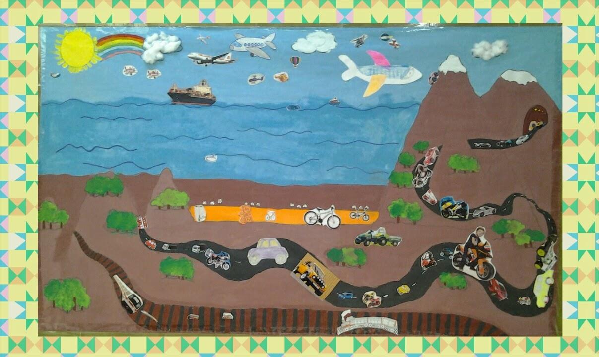 Creciendo juntos mural de los transportes for Como pegar papel mural