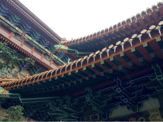 Icicles on the roof of the temples at Po Lin Monastery, Lantau Island, Hong Kong