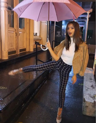 Emily Ratajkowskin in Topshop Suede Jacket Mock Top and  Check Pants at NYFW