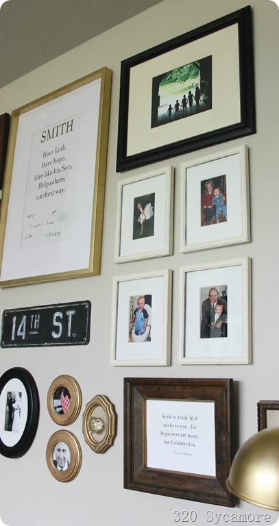 gallery wall family motto and pictures