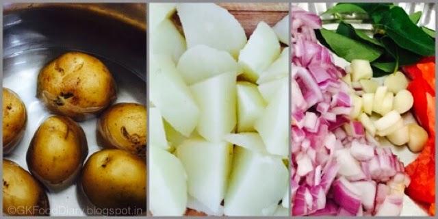 Potato Curry in South Indian Style (Urulaikilangu Kara Kari ) 2