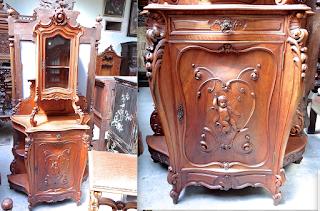 Красивый буфет ок.1875 г. Шкафчик с стеклянной дверкой, выдвижной ящик, шкафчик с резной дверкой. 6000 евро.