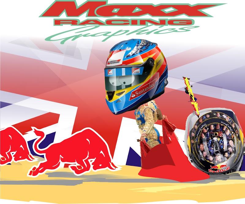 Фернандо Алонсо побеждает красного быка Себастьяна Феттеля шлем на Гран-при Великобритании 2011 Maxx Racing