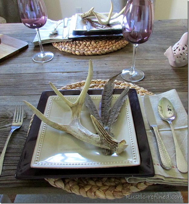 Tablescape to celebrate a special man on Father's Day. Using rustic touches and antlers for an added touch to say I love you.