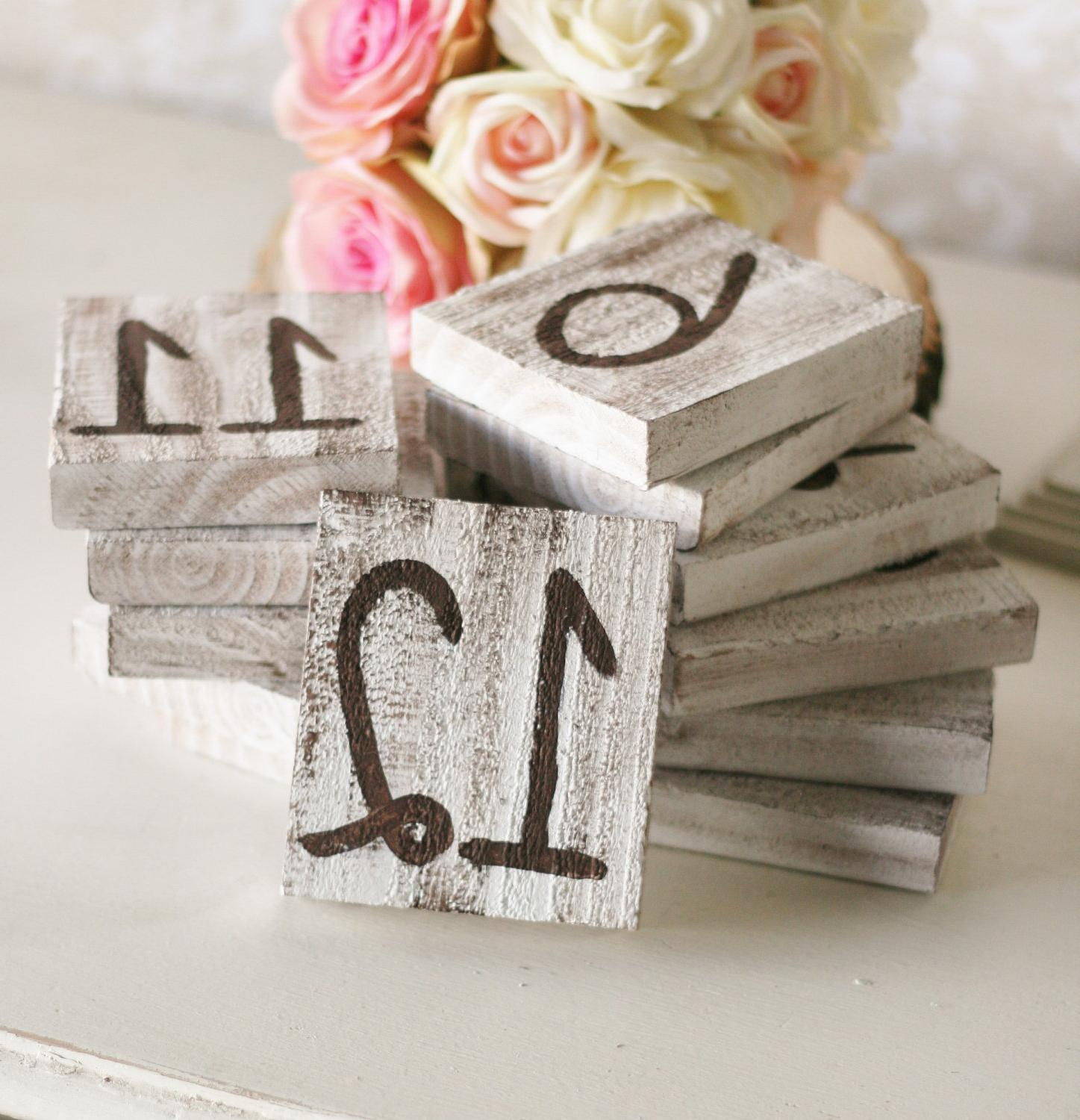 Barn Wood Table Numbers Rustic Wedding Shabby Chic Vintage Inspired SET of
