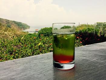 Bilde av et glass med grønn juice.