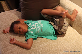 Amani conked out after a busy day in Bangkok