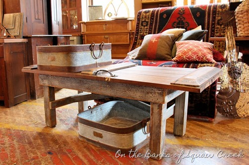 barn wood coffee table at West End Salvage - On the Banks of Squaw Creek
