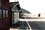 Houses by the seaside road on the Sea of Japan.