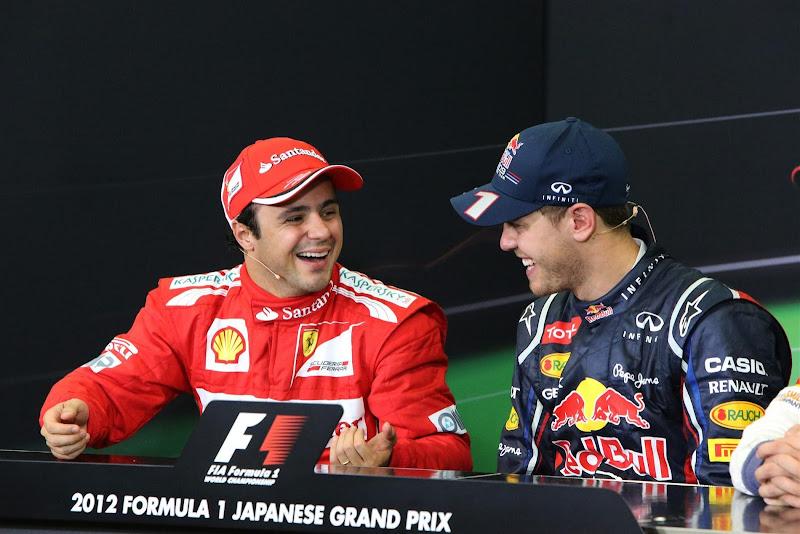 Фелипе Масса и Себастьян Феттель на пресс-конференции победителей и призеров на Гран-при Японии 2012