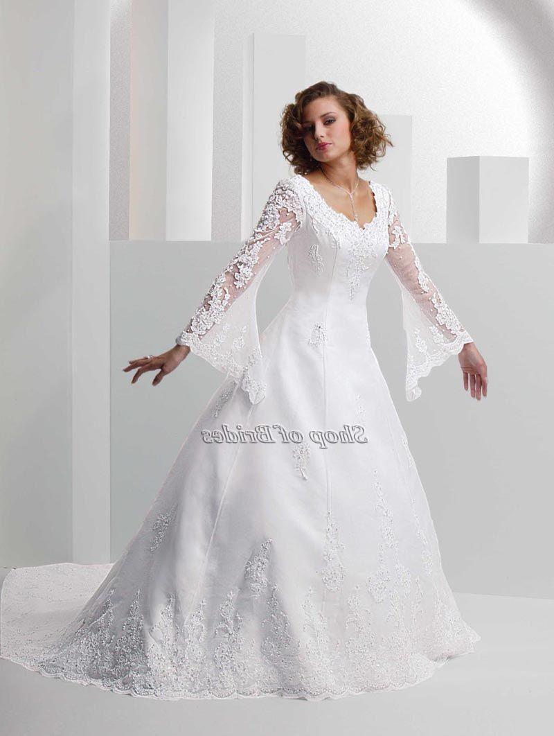 Satin A Line Chapel Train Long Sleeve V Neck White Wedding Dresses Wdws0026