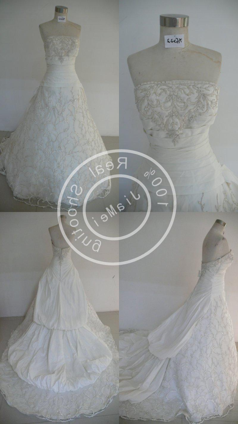 Wedding gown beads lace ruched