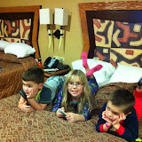 Cousins hanging out in the hotel room at Kalahari in OH 02182012