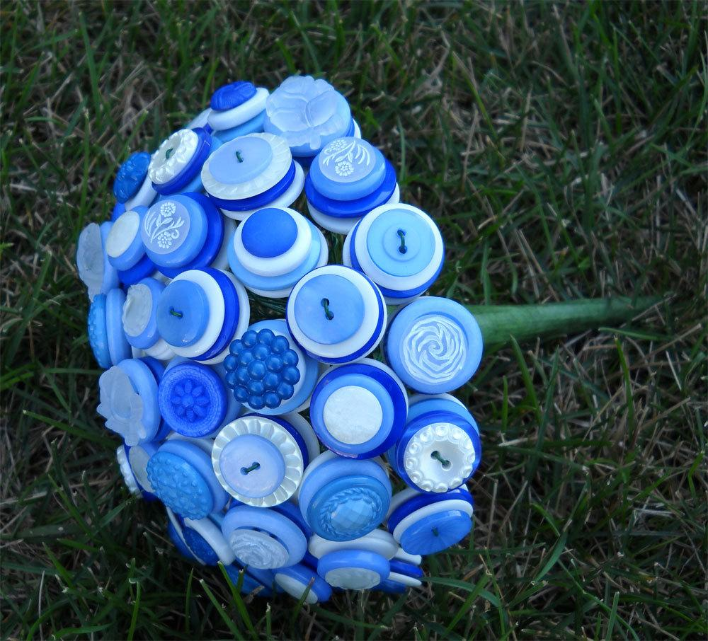 Blue and White Button Brides Wedding Bouquet. From kottonkandy52