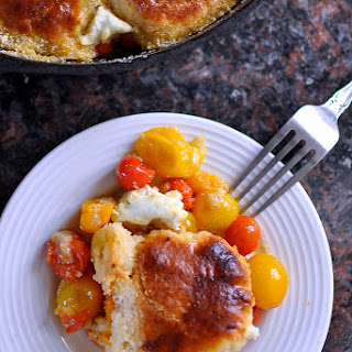Huckleberry's Cherry Tomato-Goat Cheese Cobbler