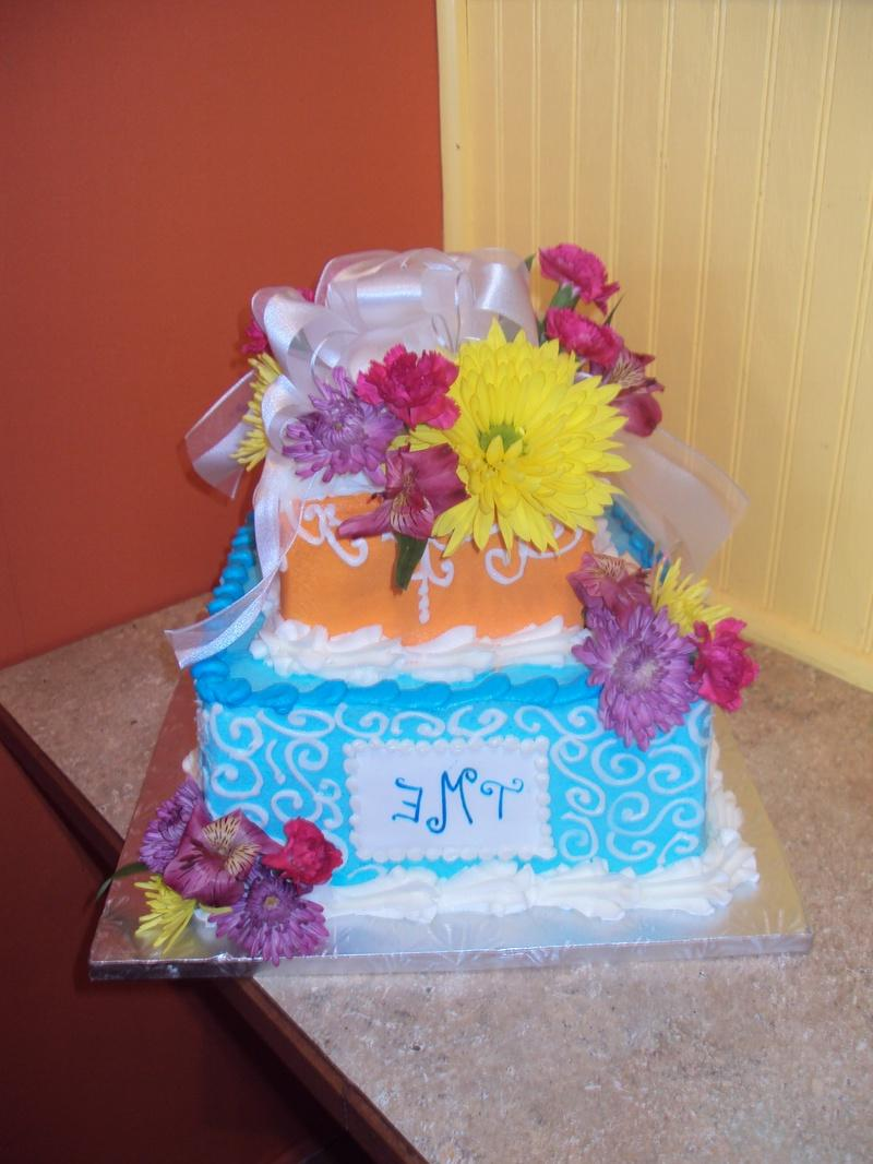 Tropical 2-tier Wedding Cake