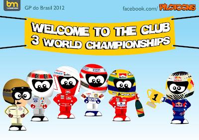 pilotoons Себастьян Феттель присоединяется к клубу трехкратных чемпионов мира