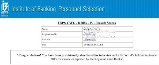IBPS RRB Results 2015