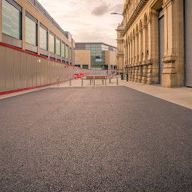 Old and New Buildings by Darrell Evans - Buildings & Architecture Public & Historical ( tarmac, building, old, stone, windows, city, boards, lights, barriers, yorkshire, bradford, outdoor, path, walkway, seats, town, construction )