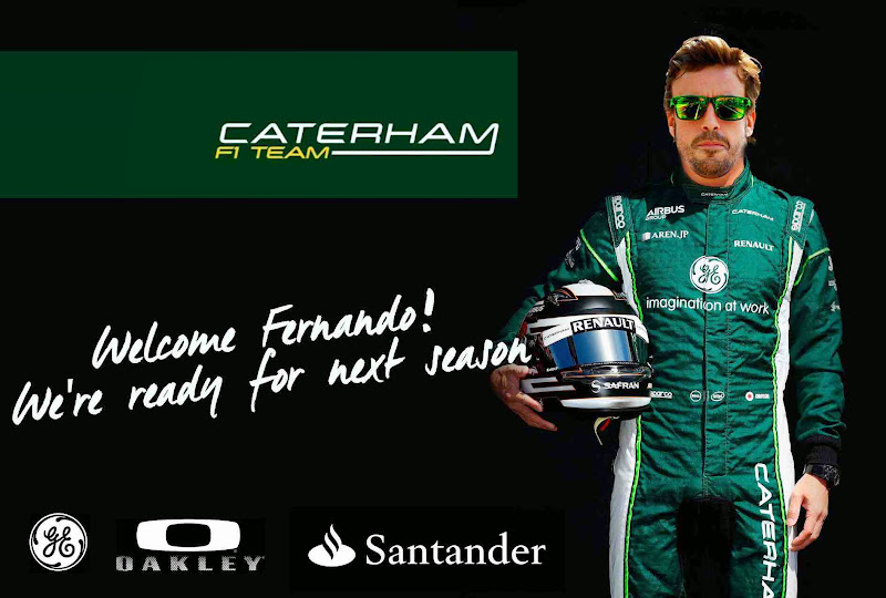 Фернандо Алонсо в форме Caterham - фотошоп