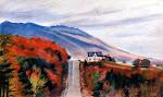 Mont Mégantic en automne, pastel sec, 12 x 24 po.
