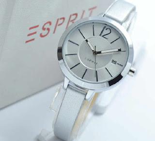 jam tangan Esprit date full Silver leather