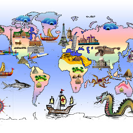 FUN ART AND ARCHITECTURE WORLD MAP by Gerry Slabaugh - Illustration Places ( art, digital art, map, sketches, fun )