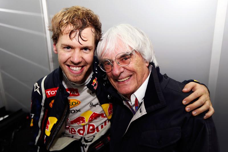 Себастьян Феттель и Берни Экклстоун после финиша Гран-при Бразилии 2012