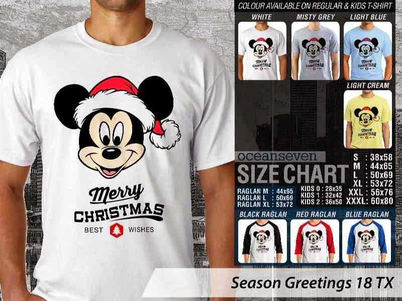 Kaos Natal Season Greetings 18 mickey mouse distro ocean seven