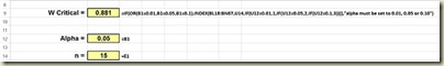Shapiro-Wilk Normality Test in Excel - Closeup Loookup Critical W