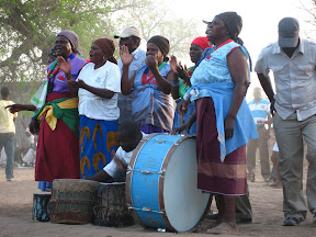 Here's the percussion section for the mchongolo dances... playing non-stop the whole time they're dancing.