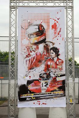 Жиль Вильнев и Ferrari - баннер Art Rotondo на Гран-при Канады 2014