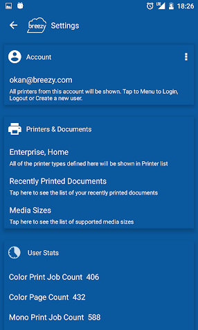 Breezy Print Service Plugin for BlackBerry Screenshot