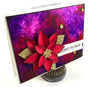Linda Vich Creates: Color Burst Christmas and Wonderful Wonderland. Stunning Color Burst background panel embellished with Festive Flower punched poinsettia.