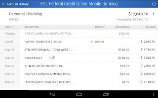 Screenshot of ESL Mobile Banking
