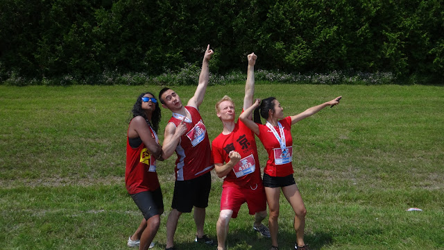 team RED at 5K foam fest run in Ashburn, Ontario, Canada