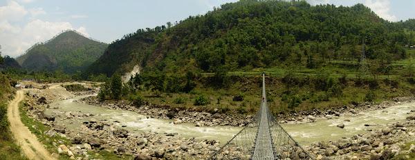 подвесной мост непал река панорама