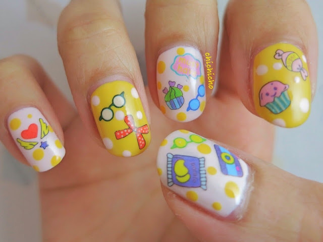 Lazy Girl Weekend Water Decal Nail Art camera selfie sunglasses cupcakes bow candy sweet