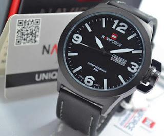 jam tangan Naviforce NF9060 black leather white