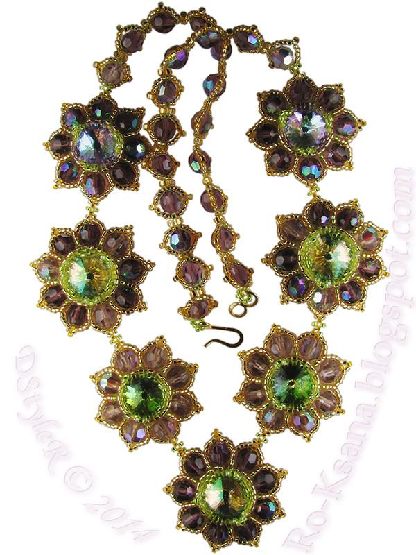 Beaded necklace Swarovski rivoli crystals Royal Amethyst Flowers handcrafted DIY Колье бисера риволи Сваровски хрустальные бусины Королевский аметист хендмейд бисероплетение украшения подарок девушке подарки женщине бижутерия Ro-Ksana
