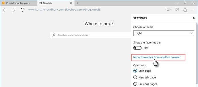 Windows 10 - Microsoft Edge - Settings - Import favorites from browser (www.kunal-chowdhury.com)
