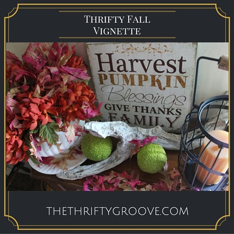 Create a colorful and pretty thrifty Fall Vignette with a few thrifted itens. a few items found around your home and a few free items provided by mother nature.