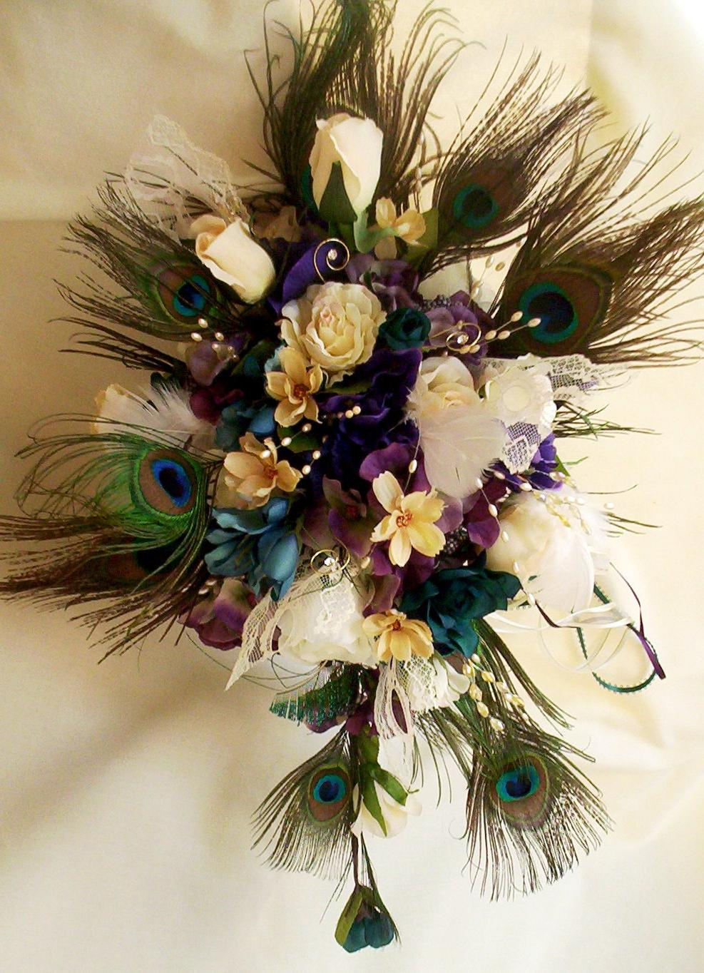 Peacock Wedding Bouquet Ivory