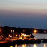 Tobermory bay by night in Tobermory, Ontario, Canada