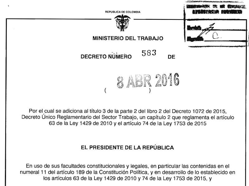 Decreto Nº 583 del 8 de abril de 2016